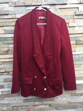 Burgundy Blazer Jacket