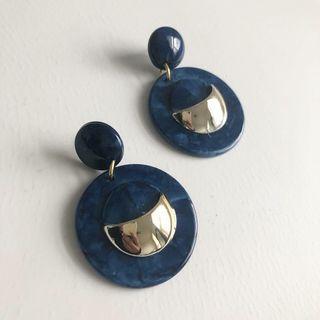 River blue marble earrings