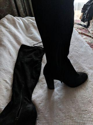 Devour black knee high boots