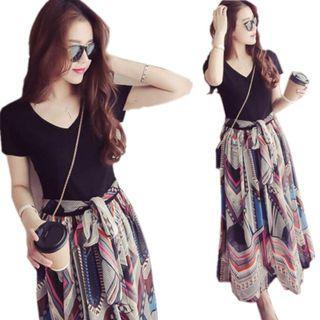 💥COOL💥Fashion Women Floral Shirts Long Dress Short Sleeve Faux 2 Peice Dresses
