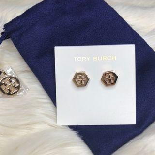 Tory Burch Rose Gold Hexagon Logo Earrings