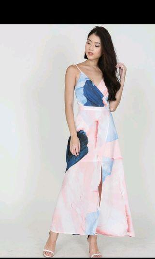 MDS Crocus Wrapped dress in pastel water colour size S