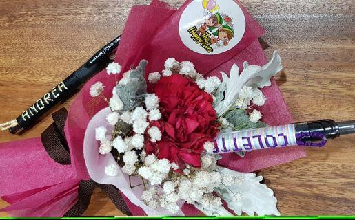 <<Mother's Day>> Customised Pen with Single Stalk Carnation Flower Bouquet