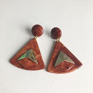 Brown marble triangle earrings
