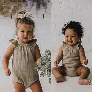 ✔️STOCK - VINTAGE NUDE BEIGE LACE SLEEVES OVERALL NEWBORN TODDLER BABY GIRLS ONESIE ROMPER KIDS CHILDREN CLOTHING