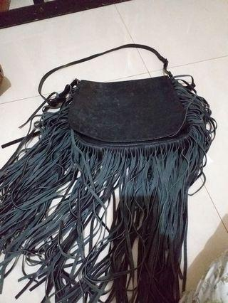 Real leather fringe bag/ tas kulit asli