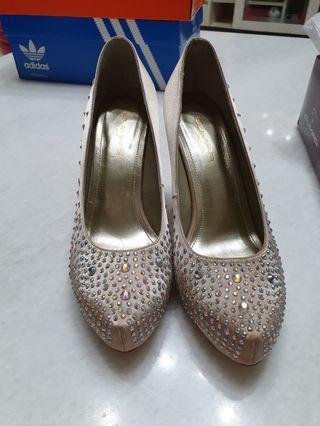 cumar 義大利金色 水鑽鞋 婚鞋