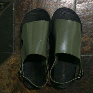 New! Sandals green army jelly sendal murh