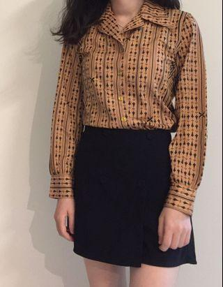 日本製🇯🇵超美粉嫩色宮廷古典撲克牌風格氣質襯衫(復古、古著風)