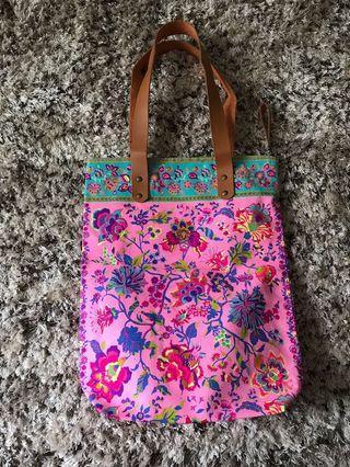 Peranakan printed thick fabric shoulder tote bag