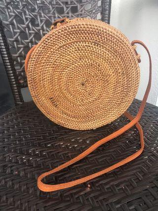 Round Rattan Sling Bag