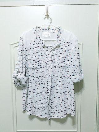 韓版 雪紡襯衫 雪紡上衣 軟質襯衫 立領襯衫 5分袖 7分袖