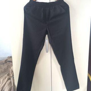 韓 黑色顯瘦西裝老爺褲