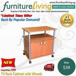 Furniture Living New TV Rack Cabinet with Wheels