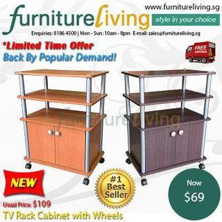 New TV Rack Cabinet with Wheels for only $69 FREE Delivery + Installation