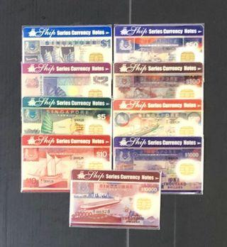 Singapore ship series: Cash Card $1,2,5,10,50,100,500,1000,10000 8-pcs.