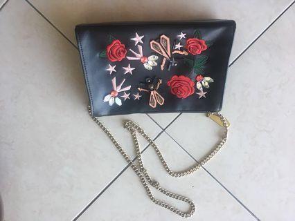 Zara embroidered bag
