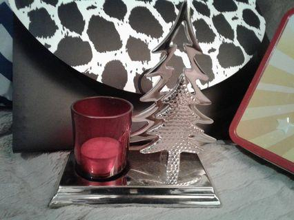 Silver tree candle holder