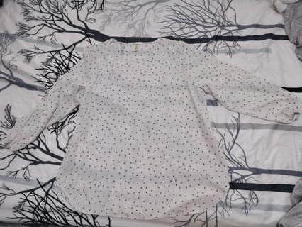 Polka dot long sleeve sheer blouse