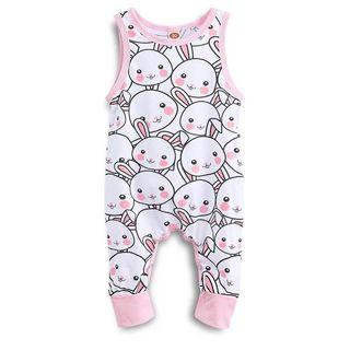 ✔️STOCK - SWEET PINK CHEEKS BUNNY WHITE SLEEVELESS OVERALL JUMPSUIT NEWBORN TODDLER BABY GIRLS JUMPER ROMPER KIDS CHILDREN CLOTHING