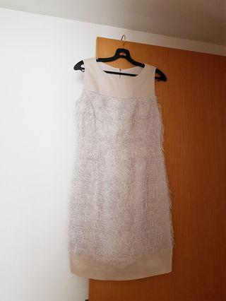 Beige dress with feathery details. With lining