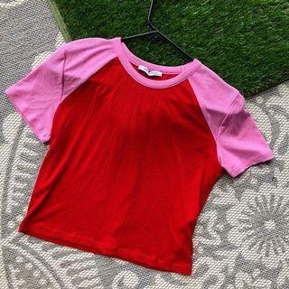 ZARA dual-coloured ribbed crop shirt