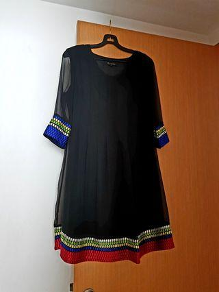 Black dress with embrodiery details