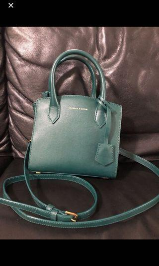 brand new with tag charles and keith emerald green sling bag