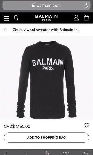 Authentic BALMAIN Wool Sweater