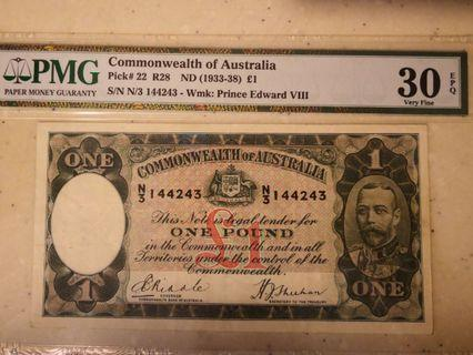 Riddle/Sheehan £1 Old King KGV (similar to Straits Settlements)