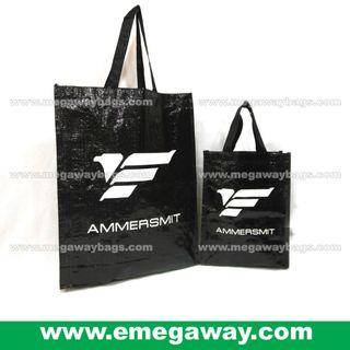 Black All Purpose Carry Shopping Bag PP Woven Store Grocery Houseware Giftware Eco Ecofriendly Recycle Reuse Tote Strong Durable Washable Heavy-load Brand Marketing Letter Propaganda Event Sales Giveaway Megaway eMegaway e-Megaway MegawayBags #81565