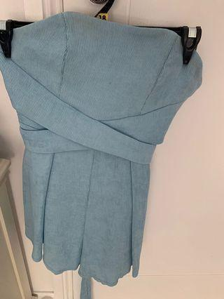 Blue strapless play suit