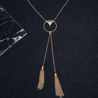 Triangle Pendant Simple Metal Tassel Necklace (GOLD)