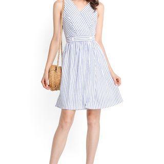Lilypirates Palm Cove Dress In Blue Stripes - S