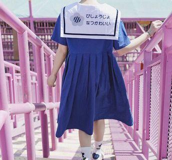 《洋裝 全新》花朵海軍風刺繡洋裝