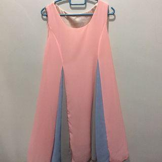 Colourful Pink Flowy Sleeveless Dress