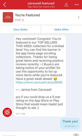 Featured Seller on Carousell! :D