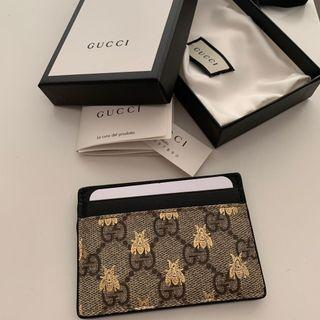 AUTHENTIC Gucci GG Supreme Bees Card Case / Cardholder