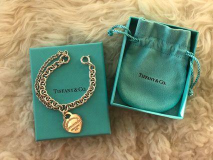 Authentic Tiffany double chain heart bracelet
