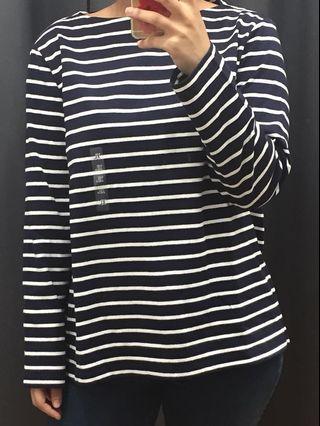 Uniqlo Navy Nautical Striped Top