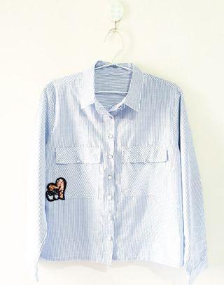 Baby Blue Stripes Patch Shirt