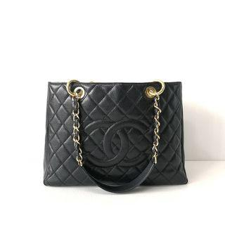 Authentic Chanel GST Black Caviar Ghw s17