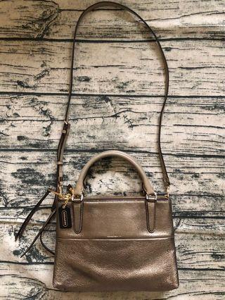 真品COACH古銅色3層拉鍊皮革手提側背肩背包