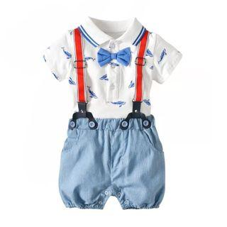 ✔️STOCK - 3pc PREMIUM BLUE FISH WHITE POLO ROMPER WITH RED SUSPENDER BELT & SKY BLUE SHORTS SET NEWBORN TODDLER BABY BOYS SMART OUTFIT KIDS CHILDREN CLOTHING