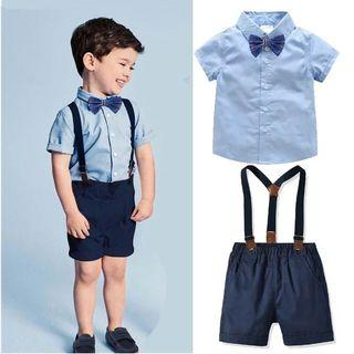 ✔️STOCK - 3pc PREMIUM NAVY BLUE BOW SMART BUTTON POCKET TSHIRT & RED NAVY SHORTS WITH SUSPENDER SET NEWBORN TODDLER BABY BOYS BIRTHDAY WEDDING PARTY OUTFIT KIDS CHILDREN CLOTHING