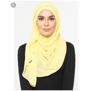 Nealofar Lady Warda. Colour: Yellow. Instant Tudung. Well kept in packaging.