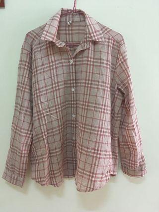🚚 粉色格子襯衫