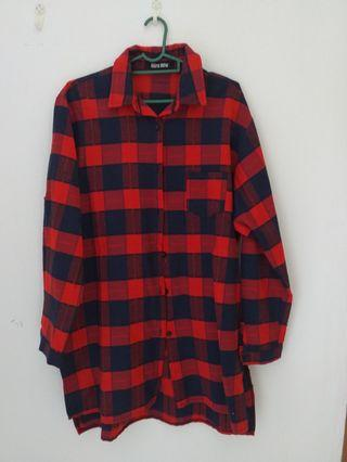 Miira Mew Red Checked Shirt Boyfriend Shirt