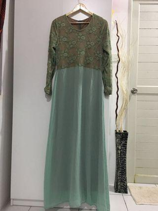 Jubah Dress Floral Green Turquoise