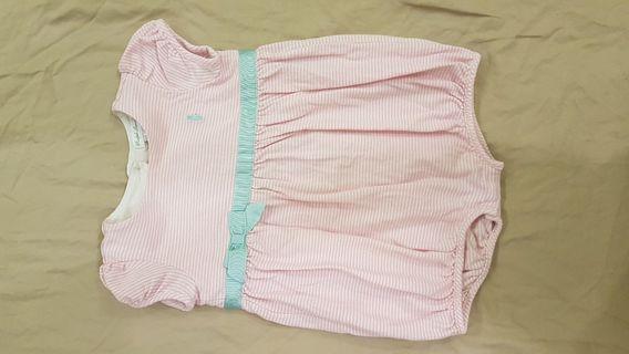 Onesie in pink stripe